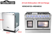 Thor Kitchen 48 Dual Fuel Range 6 Burners Rangtop 24 Dishwasher 2piece Bundle