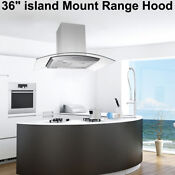 36 Inch Stainless Steel Island Mount Kitchen Range Hood 870cfm Lcd Touch Control
