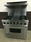 Viking Vgsc3674gss 36 Professional Gas Range Oven 4 Burner Griddle Self Clean