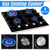 24 Lpg Gas 4 Burner Tempered Glass Stove Built In Stoves Cooktop Hob Cooker