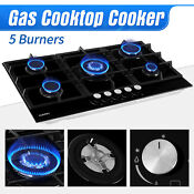 34 Lpg Gas 5 Burner Tempered Glass Stove Built In Stoves Cooktop Hob Cooker