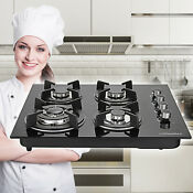 23 6 Built In Cooktop Stove Lpg Ng Gas Hob W 4 Burner Countertop Tempered Glass