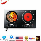 Electric Dual Induction Cooker Cooktop 2 Hot Plate Cooking Burner 110v 2400w New