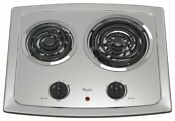Whirlpool 21 In Smooth Coil Electric Cooktop In Stainless Steel With 2 Elements