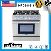 36 Inch Gas Range 6 German Burner Cooker Oven Cooktop In Stainless Thor Kitchen