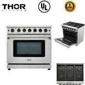 Thor Kitchen 36 Gas Range Cooktop Oven With 6 Burners Stainless Steel Lrg3601u
