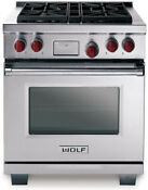 New Wolf Df304 30 Pro Style Dual Fuel Range Stainless Steel New