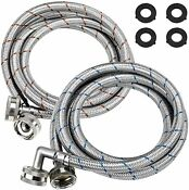 Washer Stainless Steel Hoses With 90 Degree Elbows 6 Ft Water Supply Lines 2pc