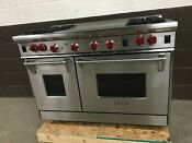 Wolf 48 Professional Gas Range 4 Burner Double Griddle Red Knobs Stainless