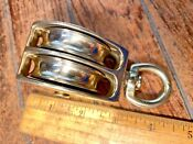 Vintage Polished Bronze Brass Double Pulley Block W 2 Sheaves 3 8 Line