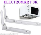 White Microwave Oven Wall Bracket Extendable Arms Up To 400mm Max Weight 35kg