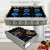 Thor Kitchen 36 Gas Rangetop Cooktops Stainless Wall Oven Four Burner Hrt3618u