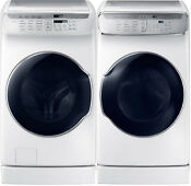 Samsung White Flex Washer Electric Dryer Risers Wv60m9900aw And Dve60m9900w