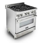 Professional Kitchen Gas Range With 4 Burners Electric Convection Oven Stainless