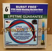 New Samar 2 Pack 6 Ft 2500 Psi Steel Braid Washing Machine Fill Hoses 340075