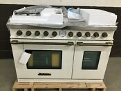 Superiore Technogas Rd482gccb 48 Gas Range 6 Burners Griddle Cream With Bronze
