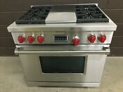 Wolf Df364c 36 Professional Dual Fuel Range Stove 4 Burners Charbroil