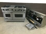 Viking 48 Pro Range Vgic4886gss Gas 6 Burners Griddle Stainless Vent Hood