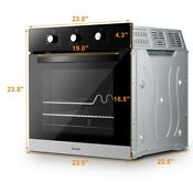 24 Electric Built In Single Wall Oven 220v Buttons Control 9 Modes 2 3cu Ft
