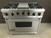 Viking Vgsc3674gss 36 Pro Gas Range Oven 4 Burner Griddle Self Clean