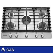 Kitchenaid 30 Gas Cooktop With 5 Burners Including Professional Dual Ring