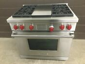 Wolf Df364g 36 Professional Dual Fuel Range Stove 4 Burners Griddle Red Knobs