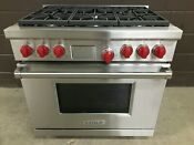 Wolf Df366 Professional Dual Fuel 36 Range Stove 6 Burners Red Knobs