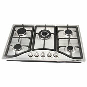 Usa 30 Curve Stainless Steel 5 Burners Built In Ng Lpg Gas Hob Cooktop Cooker