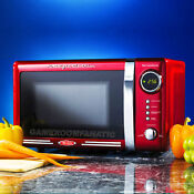 Retro Red Countertop Microwave Oven Compact Dorm Office Home Small Appliance