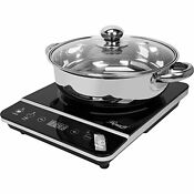 Induction Cooktop Countertop Burner 1800w W Stainless Steel Pot Kitchen Dome