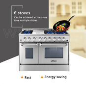 Thor Kitchen Hrd4803u Dual Fuel 48 Range Double Oven Appliance Cooktop Ng L