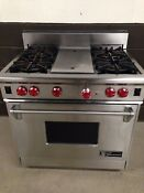 Wolf 36 Professional Gas Range Oven 4 Burners Grill In Stainless Steel
