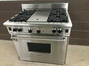 Wolf R364g 36 Professional Gas Range Stove 4 Burners Griddle Stainless