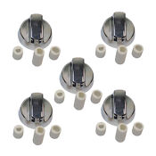 5x Universal Fitting Cooktop Oven Replacement Knob In Chrome Qty X 5
