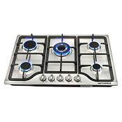 Metawell 30inch Steel 5 Burner Built In Stoves Natural Gas Hob Cooktops Cookware