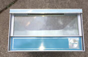 Vintage Retro Enamel Refrigerator Drawer Airwrap Blue Chrome Container Upcycle