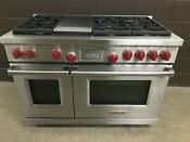 Wolf Df486g 48 Professional Dual Fuel Range Stove 6 Burners Griddle Red Knobs