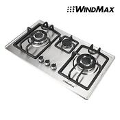 Brand 110v 28 Stainless Steel 3 Burners Built In Stove Ng Gas Cooktop Cooker Us