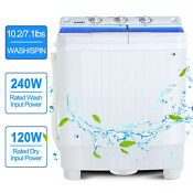 Portable 17lbs Mini Compact Washing Machine Twin Tub Laundry Washer Spin Dryer