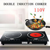 Electric Dual Induction Cooker Burner Cooktop Digital Hot Plate 1200w 1200w Usa