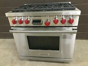 Wolf Df366 Pro Dual Fuel 36 Range Stove 6 Burners Red Knobs