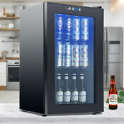 80 Cans Mini Beverage Cooler Refrigerator Beer Beverage Fridge Glassdoor Black