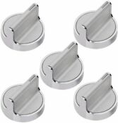 W10594481 Stainless Steel Stove Control Oven Range Burner Knobs Fits Whirlpool