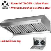 Stainless Steel 30 Under Cabinet Range Hood Kitchen Two Motors Fan Led 750cfm