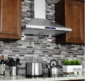 Stainless Steel Kitchen Range Hood Wall Mounted 30 Inch Led Vented Stove Hood