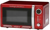 Countertop Microwave Oven Cooking Red 700 Watt Small Side Controls Pull Clock