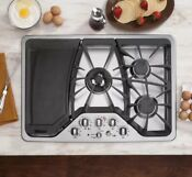 New Ge Caf Stainless Steel 30 5 Burner Gas Cooktop W Griddle Cgp350setss