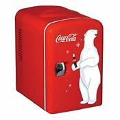 Small Red 6 Can Fridge 110v Beverage Home Coke Soda Chiller 4l Office Dorm 12v