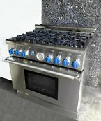 36 Thermador Pro Pd366bs Dual Fuel 6 Gas Burner 220v Oven Stainless Steel Range