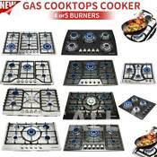 23 30 34 4 5 6 Burners Built In Stove Cooktops Ng Lpg Gas Hobs Silver Black